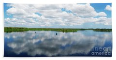 Skyscape Reflections Blue Cypress Marsh Conservation Area Near Vero Beach Florida C2 Hand Towel
