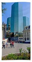 Skyscraper At A Corner Of Plaza De Armas In Santiago-chile  Hand Towel
