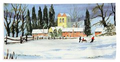 Hand Towel featuring the painting Sledding With Dad by Bill Holkham