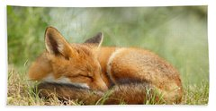 Sleeping Cutie - Red Fox In The Grass Hand Towel