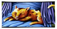 Sleeping Kitty Hand Towel