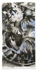 Bath Towel featuring the painting Sleeping Tabby Cat by Zaira Dzhaubaeva