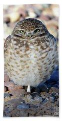 Sleepy Burrowing Owl Hand Towel