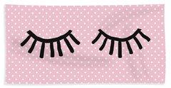 Sleepy Eyes And Polka Dots- Art By Linda Woods Hand Towel