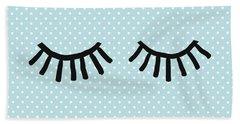 Sleepy Eyes And Polka Dots Blue- Art By Linda Woods Hand Towel
