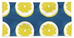Sliced Lemons On Blue- Art By Linda Woods Bath Towel