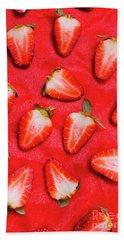 Sliced Red Strawberry Background Bath Towel