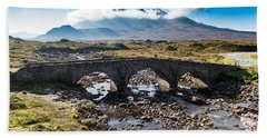 Hand Towel featuring the photograph Skye Cuillin From Sligachan by Gary Eason