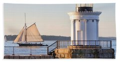 Hand Towel featuring the photograph Sloop And Lighthouse, South Portland, Maine  -56170 by John Bald