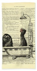 Sloth, Funny Children's Art, Bathroom Decor Hand Towel