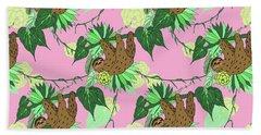 Sloth - Green On Pink Hand Towel
