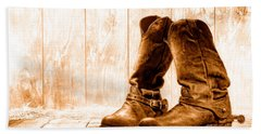 Slouch Cowboy Boots - Sepia Hand Towel