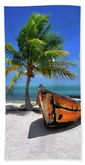 Small Boat And Palm Tree On White Sandy Beach In The Florida Keys Hand Towel