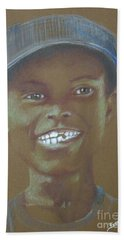 Small Boy, Big Grin -- Retro Portrait Of Black Boy Hand Towel