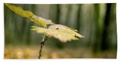 Small Branch With Yellow Leafs Close-up Bath Towel by Vlad Baciu
