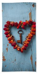 Small Rose Heart Wreath With Key Hand Towel