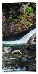Small Waterfall In Mountain Stream Bath Towel by Kirt Tisdale