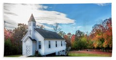 Small Wooden Church In The Countryside During Autumn Hand Towel