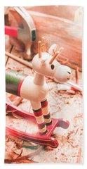 Small Xmas Reindeer On Wood Shavings In Workshop Bath Towel