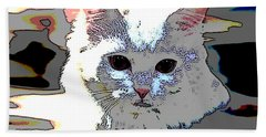 Hand Towel featuring the mixed media Smart Cat by Charles Shoup