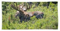 Smiling Bull Moose Hand Towel