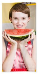 Smiling Young Woman Eating Fresh Fruit Watermelon Bath Towel