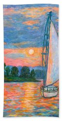 Bath Towel featuring the painting Smith Mountain Lake by Kendall Kessler