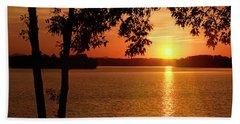 Smith Mountain Lake Silhouette Sunset Hand Towel