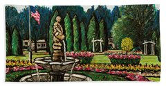 Smith Park Fountain Plein Aire Hand Towel