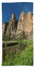 Bath Towel featuring the photograph Smith Rock Spires by Greg Nyquist