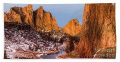 Smith Rock State Park In Morning Hand Towel