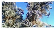 Hand Towel featuring the photograph Smoke Tree In Bloom With Blue Purple Flowers by Jay Milo