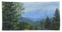 Hand Towel featuring the painting Smokey Mountain Overlook by Kathleen McDermott