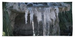 Smokey Stoves Frozen Falls Hand Towel by Marie Neder
