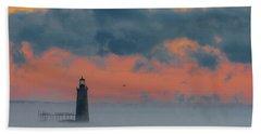 Smokey Sunrise At Ram Island Ledge Light Hand Towel