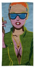 Smoking Woman Sunglasses  Bath Towel