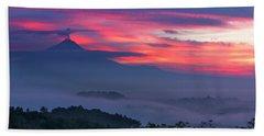 Smoking Volcano And Borobudur Temple Bath Towel