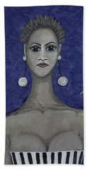 Smoking Woman 3 - Blue Hand Towel