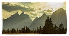 Bath Towel featuring the photograph Smoky Golden Light On The Tetons by James BO Insogna