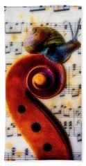 Snail With Sheet Music Bath Towel