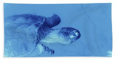 Snapping Turtle Blue Hand Towel