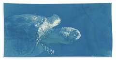 Snapping Turtle Blue White Hand Towel