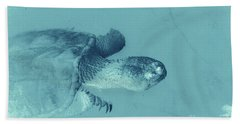 Snapping Turtle Cyan Hand Towel