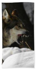 Snarling Wolf Hand Towel