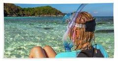 Snorkeler Relaxing On Tropical Beach Bath Towel