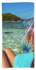 Snorkeler Relaxing On Tropical Beach Hand Towel