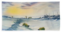 Snow And Sheep On The Moors Hand Towel