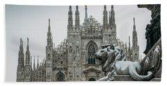 Snow At Milan's Duomo Cathedral  Hand Towel