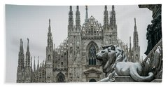 Snow At Milan's Duomo Cathedral  Bath Towel