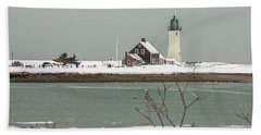 Snow At Scituate Lighthouse Bath Towel